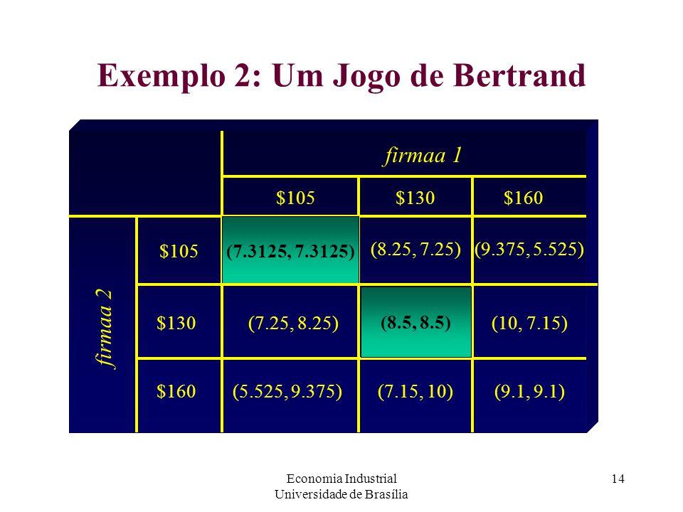 Economia Industrial Universidade de Brasília 14 Exemplo 2: Um Jogo de Bertrand firmaa 1 firmaa 2 $105 (8.25, 7.25) $130 (7.3125, 7.3125) (8.5, 8.5)(7.
