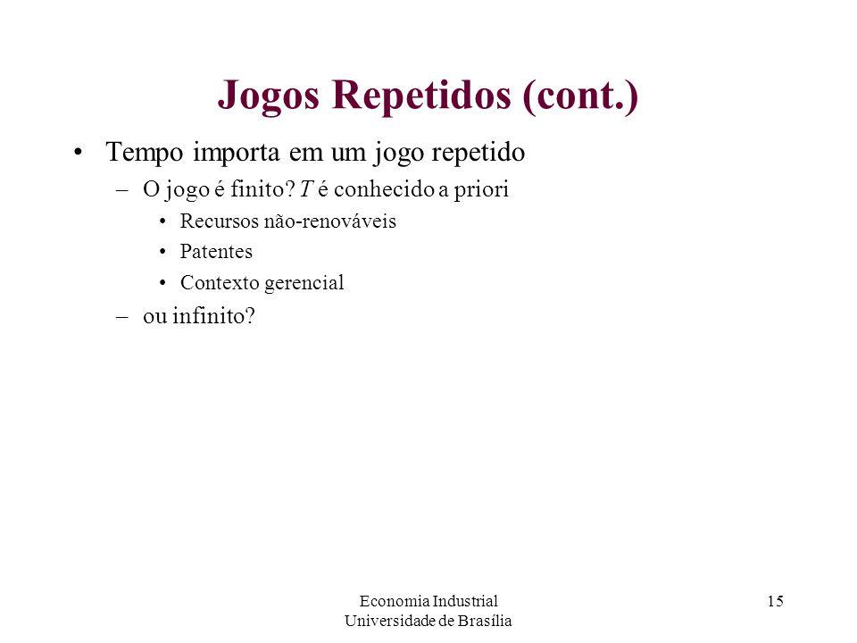 Economia Industrial Universidade de Brasília 15 Jogos Repetidos (cont.) Tempo importa em um jogo repetido –O jogo é finito? T é conhecido a priori Rec