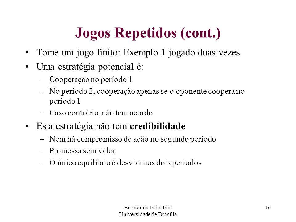 Economia Industrial Universidade de Brasília 16 Jogos Repetidos (cont.) Tome um jogo finito: Exemplo 1 jogado duas vezes Uma estratégia potencial é: –