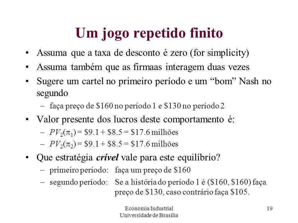 Economia Industrial Universidade de Brasília 19 Um jogo repetido finito Assuma que a taxa de desconto é zero (for simplicity) Assuma também que as fir