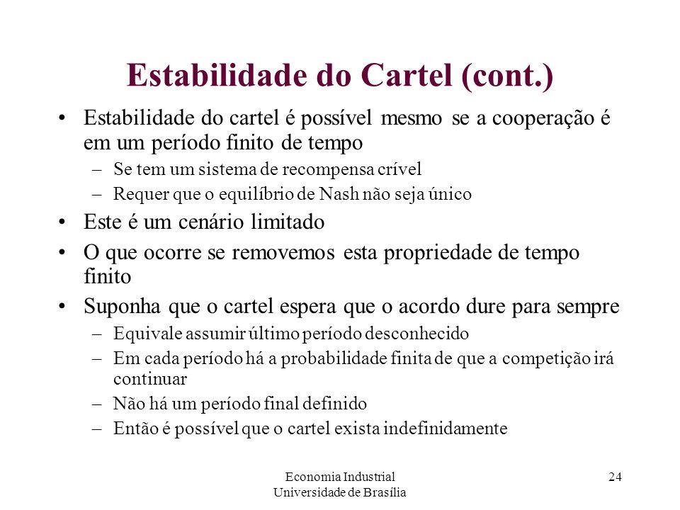 Economia Industrial Universidade de Brasília 24 Estabilidade do Cartel (cont.) Estabilidade do cartel é possível mesmo se a cooperação é em um período