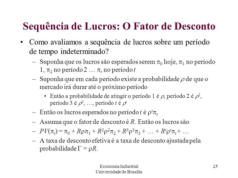 Economia Industrial Universidade de Brasília 25 Sequência de Lucros: O Fator de Desconto Como avaliamos a sequência de lucros sobre um período de temp