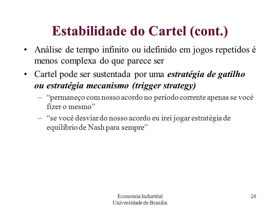 Economia Industrial Universidade de Brasília 26 Estabilidade do Cartel (cont.) Análise de tempo infinito ou idefinido em jogos repetidos é menos compl