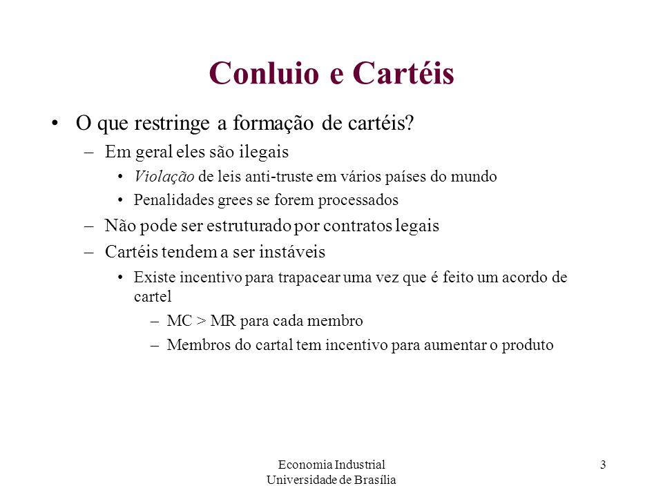 Economia Industrial Universidade de Brasília 3 Conluio e Cartéis O que restringe a formação de cartéis? –Em geral eles são ilegais Violação de leis an