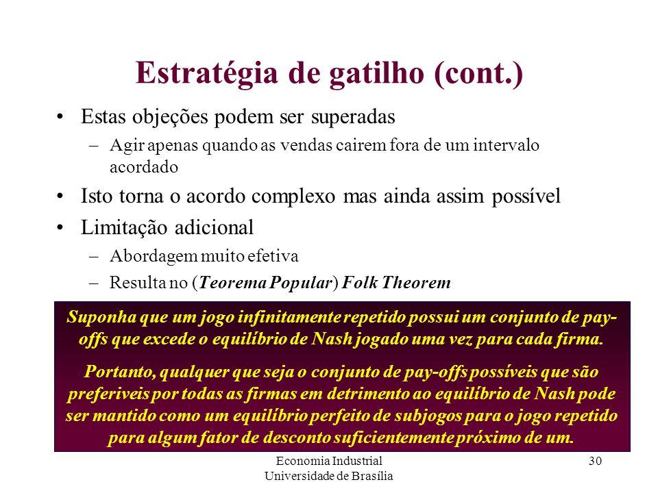 Economia Industrial Universidade de Brasília 30 Estratégia de gatilho (cont.) Estas objeções podem ser superadas –Agir apenas quando as vendas cairem