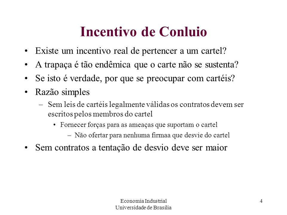 Economia Industrial Universidade de Brasília 4 Incentivo de Conluio Existe um incentivo real de pertencer a um cartel? A trapaça é tão endêmica que o