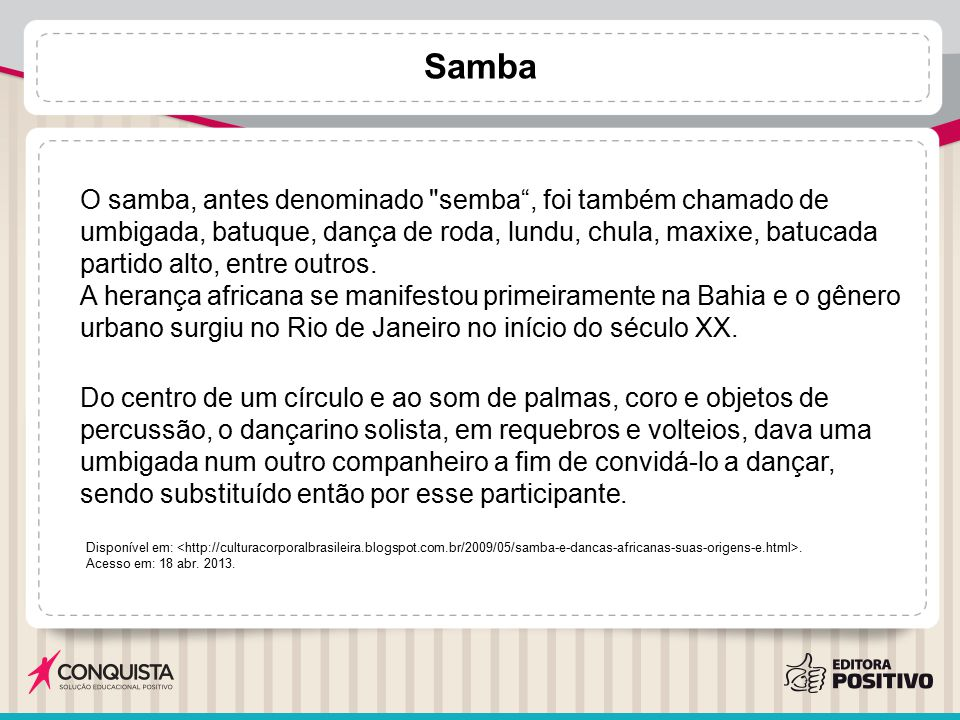 Samba O samba, antes denominado