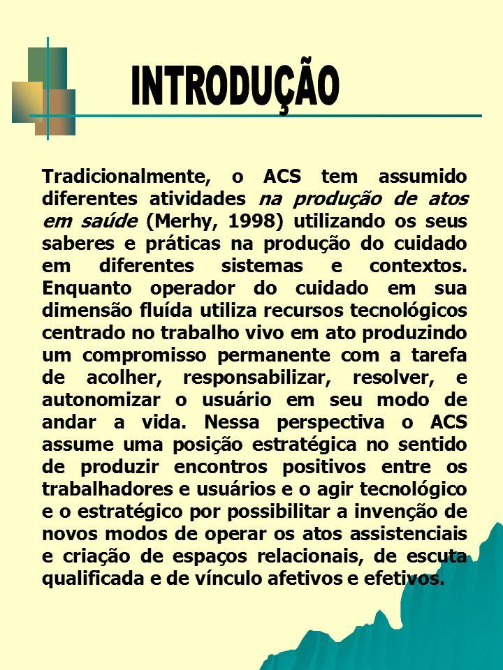 Nessa direção o presente estudo tem como objetivo analisar o processo de trabalho do Agente Comunitário de Saúde (ACS) em uma Unidade Saúde da Família no município de Itabuna- Bahia e, como foco o espaço de intervenção da micropolítica do processo de trabalho do ACS por ser o local onde existem microconexões que são instituintes possibilitando um mergulho em profundidade na cotidianidade do ACS (Baremblitt, 1992).