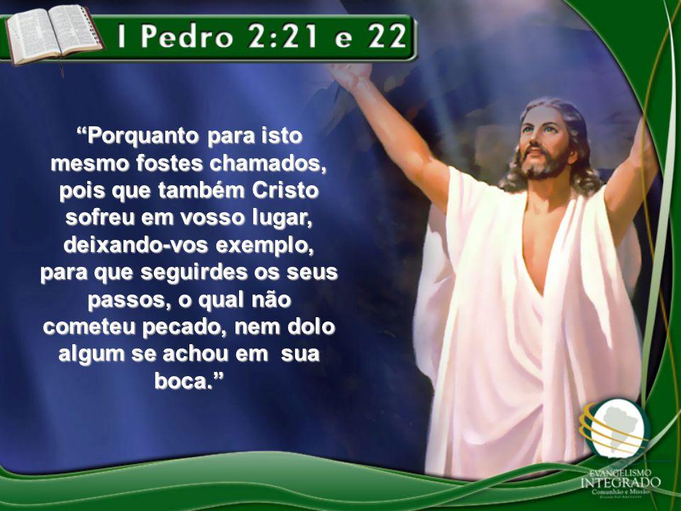 """""""Porquanto para isto mesmo fostes chamados, pois que também Cristo sofreu em vosso lugar, deixando-vos exemplo, para que seguirdes os seus passos, o q"""