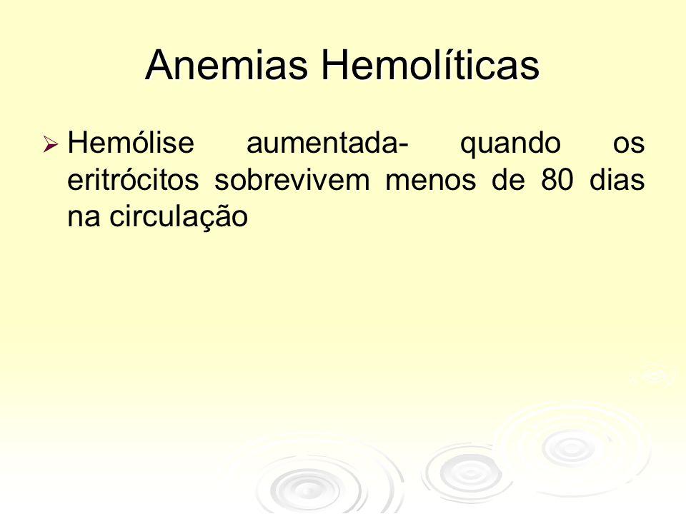 ANEMIAS HEMOLÍTICAS CARACTERÍSTICAS Destruição precoce dos eritrócitos Icterícia com bilirrubinemia Anemia com variados graus de intensidade CAUSAS BÁSICAS Intravascular Extravascular Icterícia
