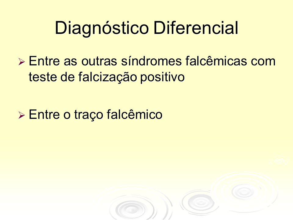 Diagnóstico Diferencial  Entre as outras síndromes falcêmicas com teste de falcização positivo  Entre o traço falcêmico