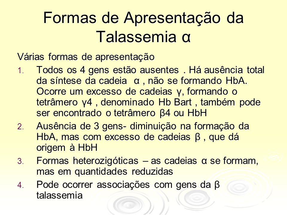 Formas de Apresentação da Talassemia α Várias formas de apresentação 1. Todos os 4 gens estão ausentes. Há ausência total da síntese da cadeia α, não
