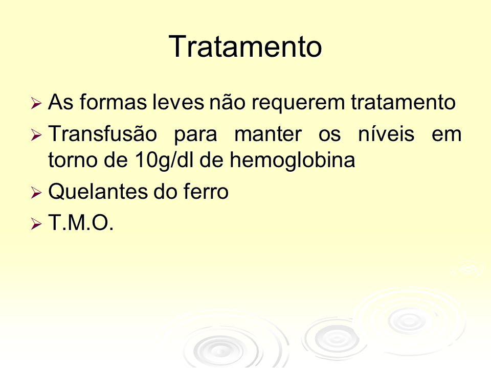 Tratamento  As formas leves não requerem tratamento  Transfusão para manter os níveis em torno de 10g/dl de hemoglobina  Quelantes do ferro  T.M.O.