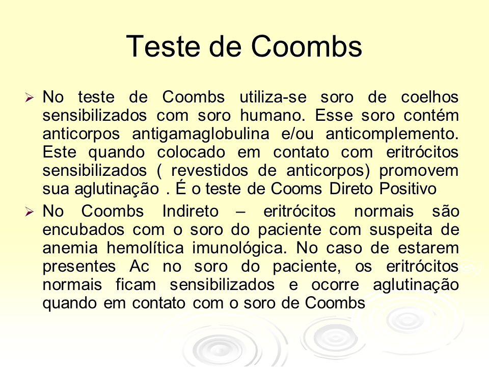 Teste de Coombs  No teste de Coombs utiliza-se soro de coelhos sensibilizados com soro humano.