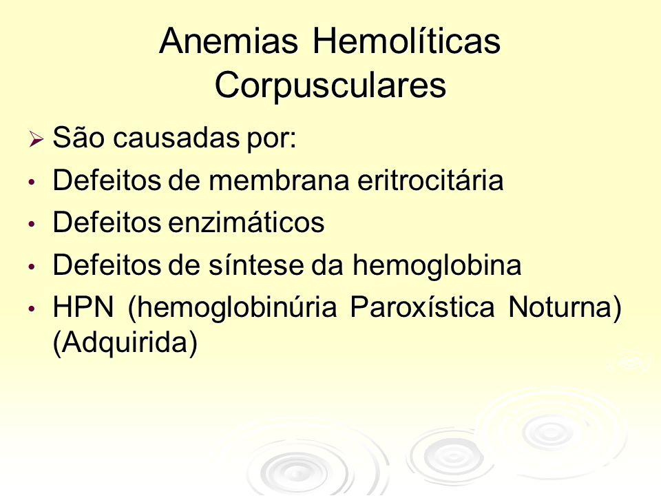 Anemias Hemolíticas Corpusculares  São causadas por: Defeitos de membrana eritrocitária Defeitos de membrana eritrocitária Defeitos enzimáticos Defeitos enzimáticos Defeitos de síntese da hemoglobina Defeitos de síntese da hemoglobina HPN (hemoglobinúria Paroxística Noturna) (Adquirida) HPN (hemoglobinúria Paroxística Noturna) (Adquirida)