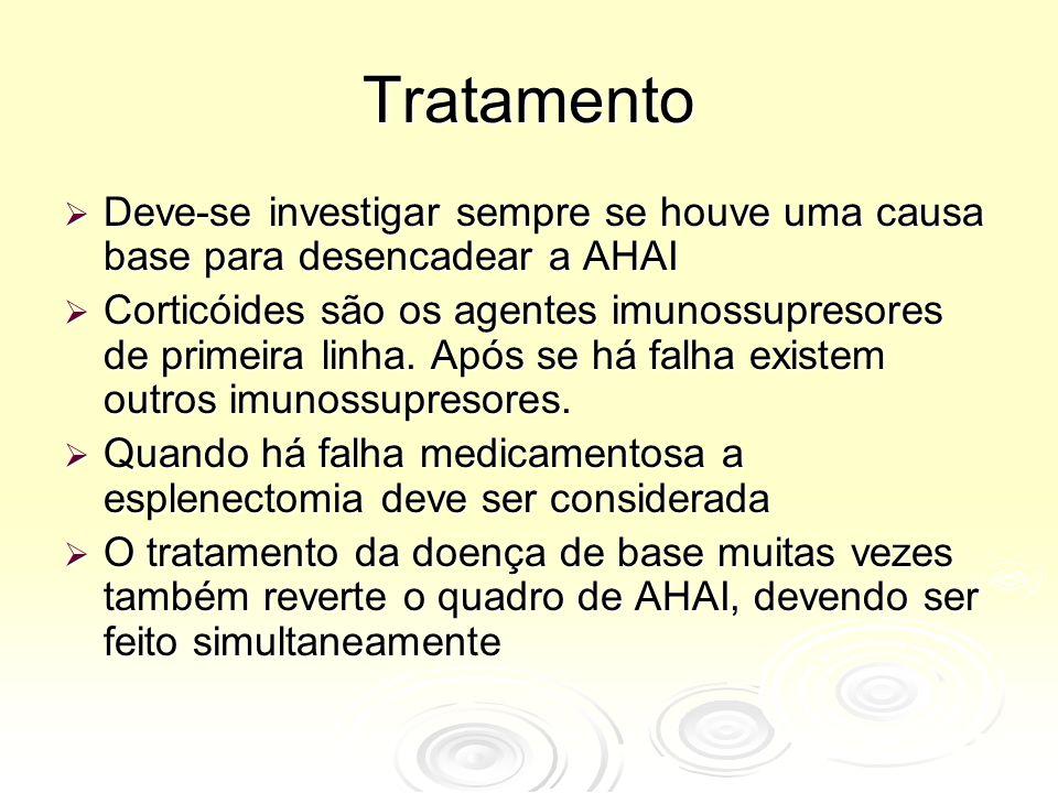 Tratamento  Deve-se investigar sempre se houve uma causa base para desencadear a AHAI  Corticóides são os agentes imunossupresores de primeira linha