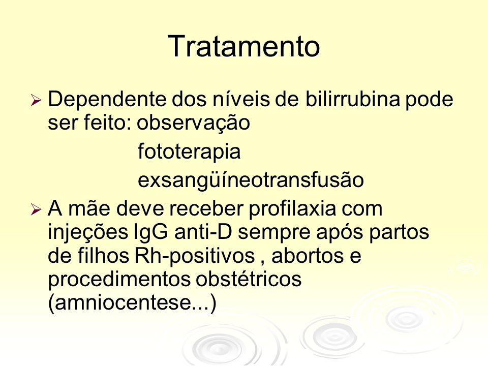 Tratamento  Dependente dos níveis de bilirrubina pode ser feito: observação fototerapia fototerapia exsangüíneotransfusão exsangüíneotransfusão  A m