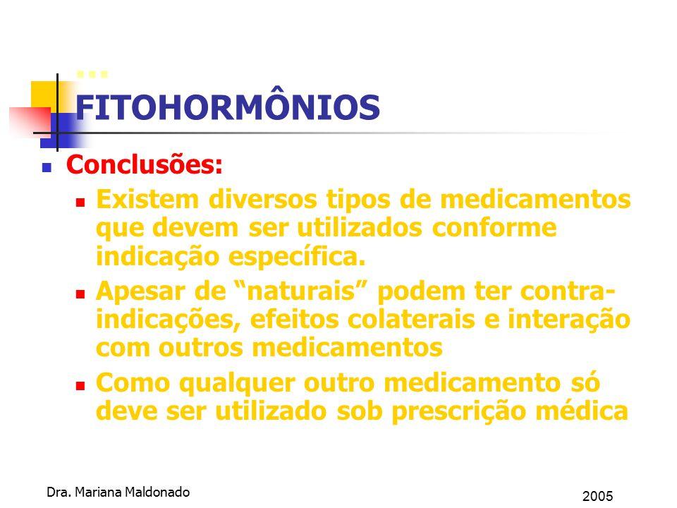 2005 Dra. Mariana Maldonado... FITOHORMÔNIOS Conclusões: Existem diversos tipos de medicamentos que devem ser utilizados conforme indicação específica