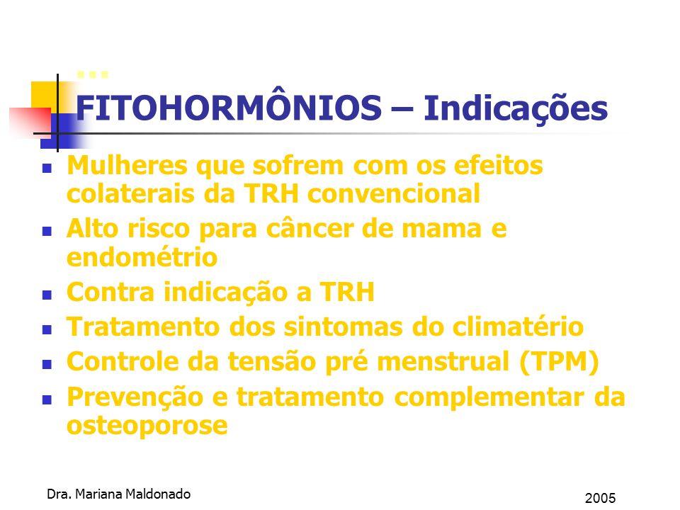 2005 Dra. Mariana Maldonado... FITOHORMÔNIOS – Indicações Mulheres que sofrem com os efeitos colaterais da TRH convencional Alto risco para câncer de