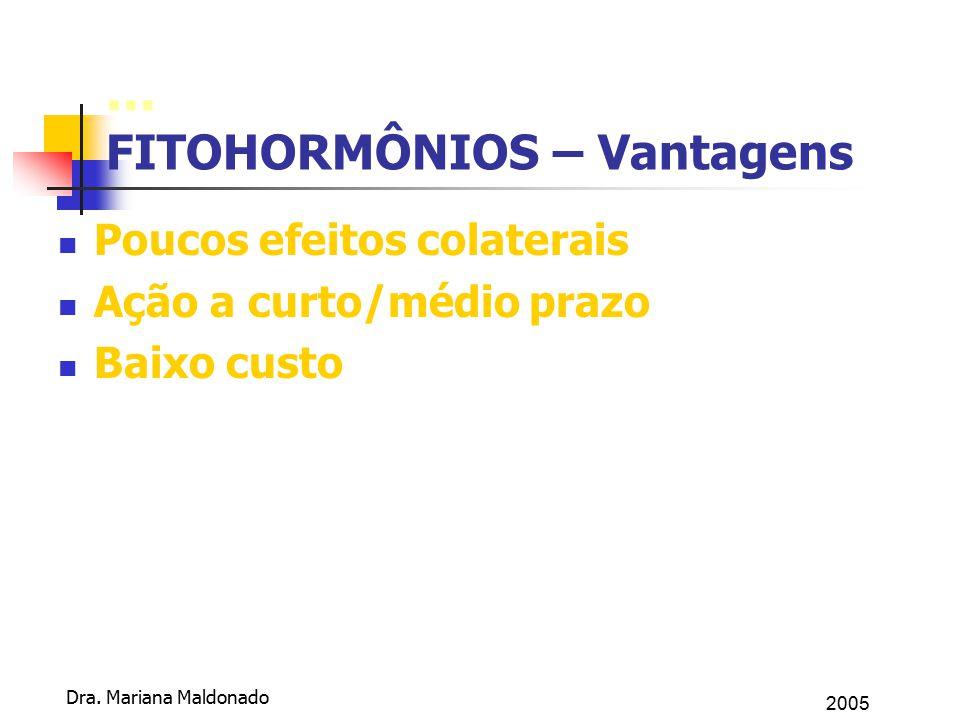 2005 Dra. Mariana Maldonado... FITOHORMÔNIOS – Vantagens Poucos efeitos colaterais Ação a curto/médio prazo Baixo custo