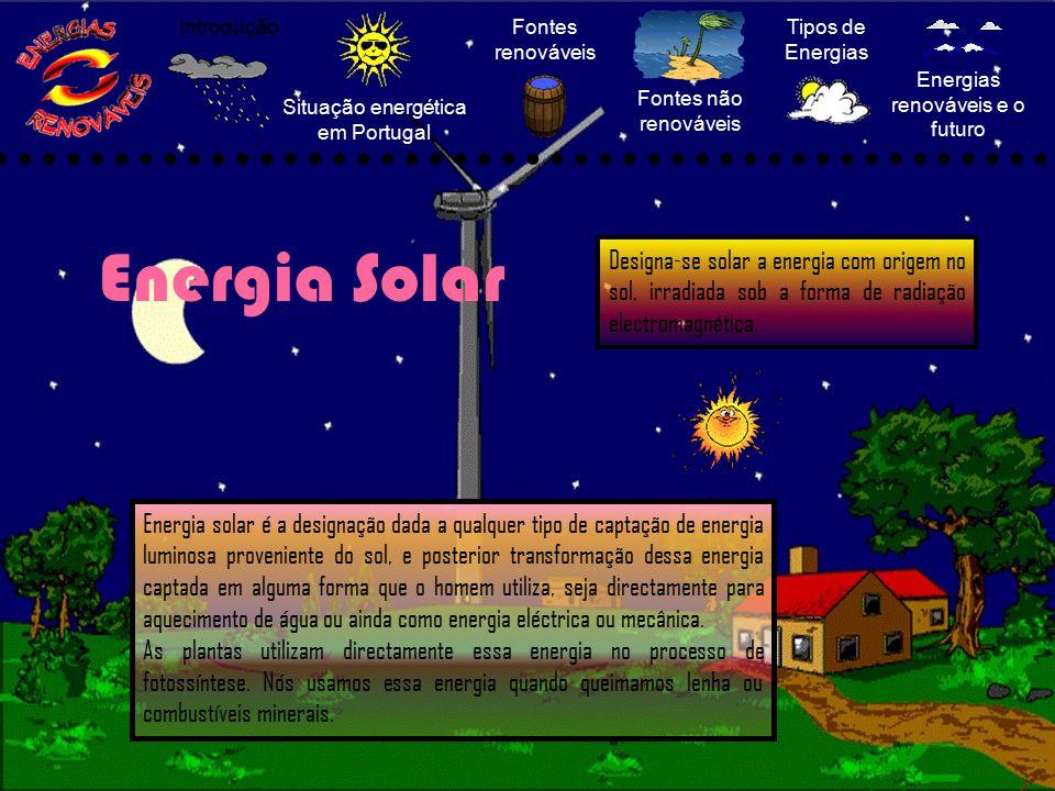 Situação energética em Portugal Fontes renováveis Fontes não renováveis Tipos de Energias Energias renováveis e o futuro Introdução Energia Solar Ener