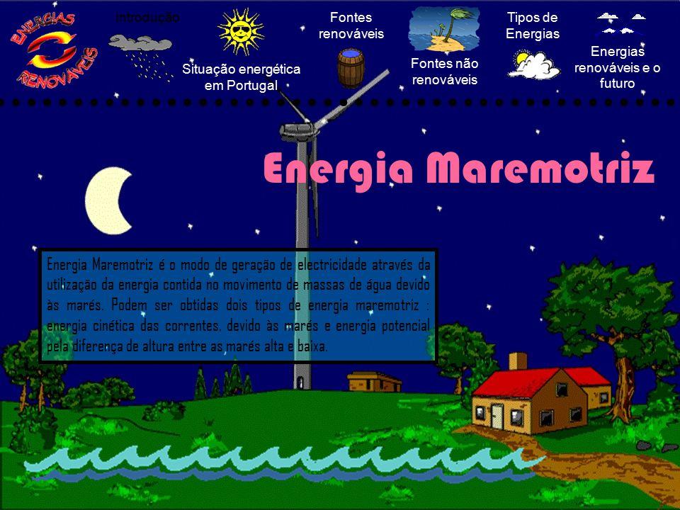 Situação energética em Portugal Fontes renováveis Fontes não renováveis Tipos de Energias Energias renováveis e o futuro Introdução Energia Maremotriz