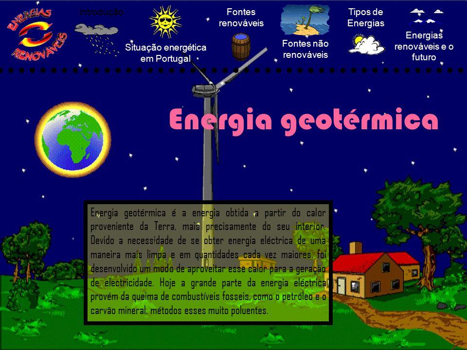 Situação energética em Portugal Fontes renováveis Fontes não renováveis Tipos de Energias Energias renováveis e o futuro Introdução Energia geotérmica