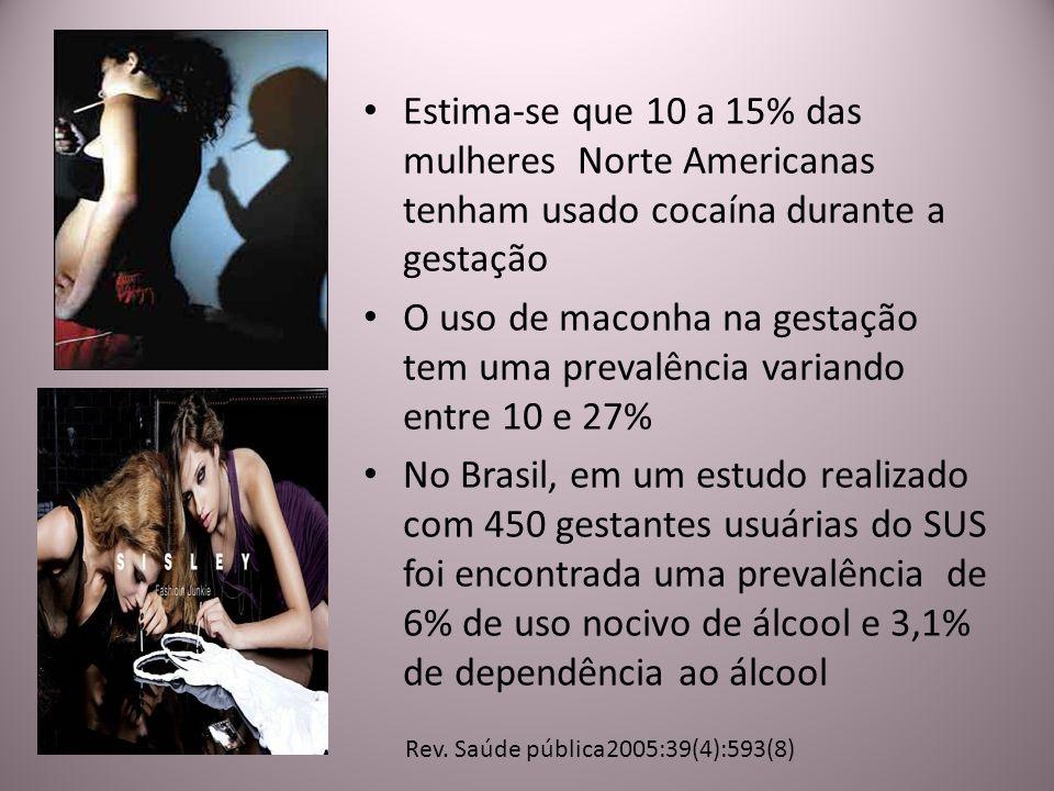 Estima-se que 10 a 15% das mulheres Norte Americanas tenham usado cocaína durante a gestação O uso de maconha na gestação tem uma prevalência variando