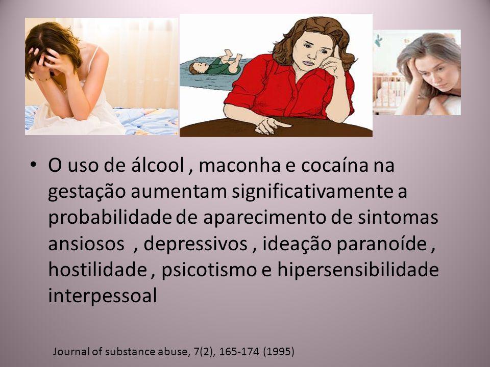 O uso de álcool, maconha e cocaína na gestação aumentam significativamente a probabilidade de aparecimento de sintomas ansiosos, depressivos, ideação