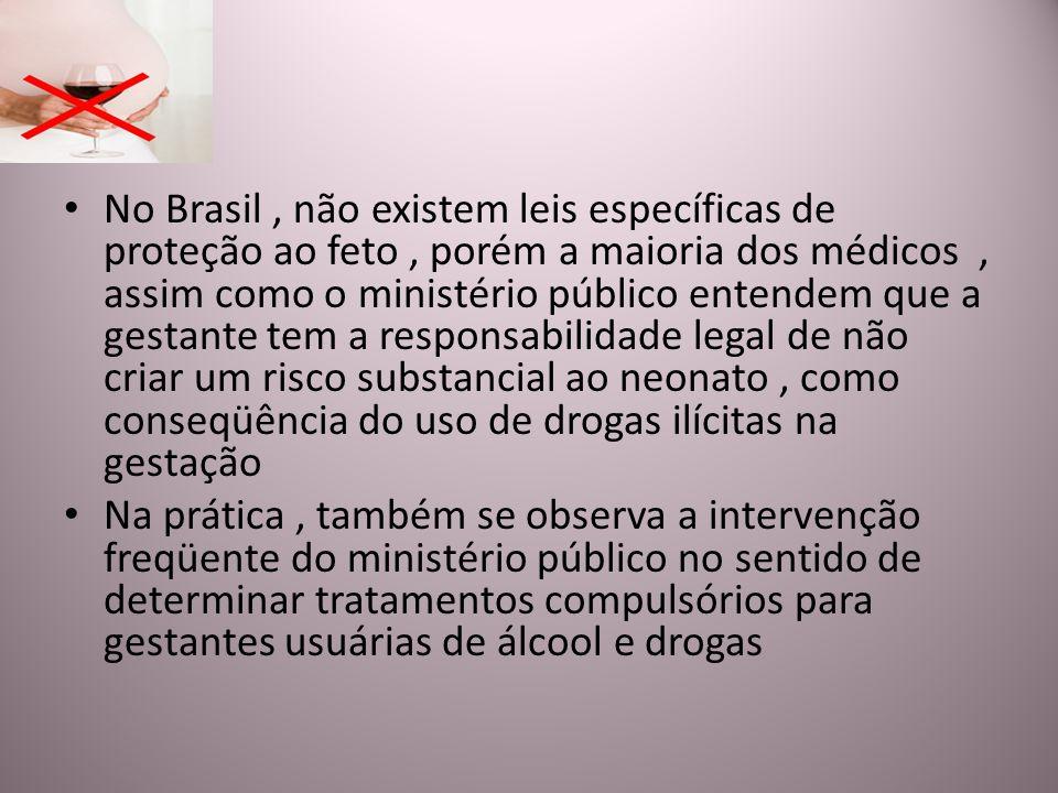 No Brasil, não existem leis específicas de proteção ao feto, porém a maioria dos médicos, assim como o ministério público entendem que a gestante tem