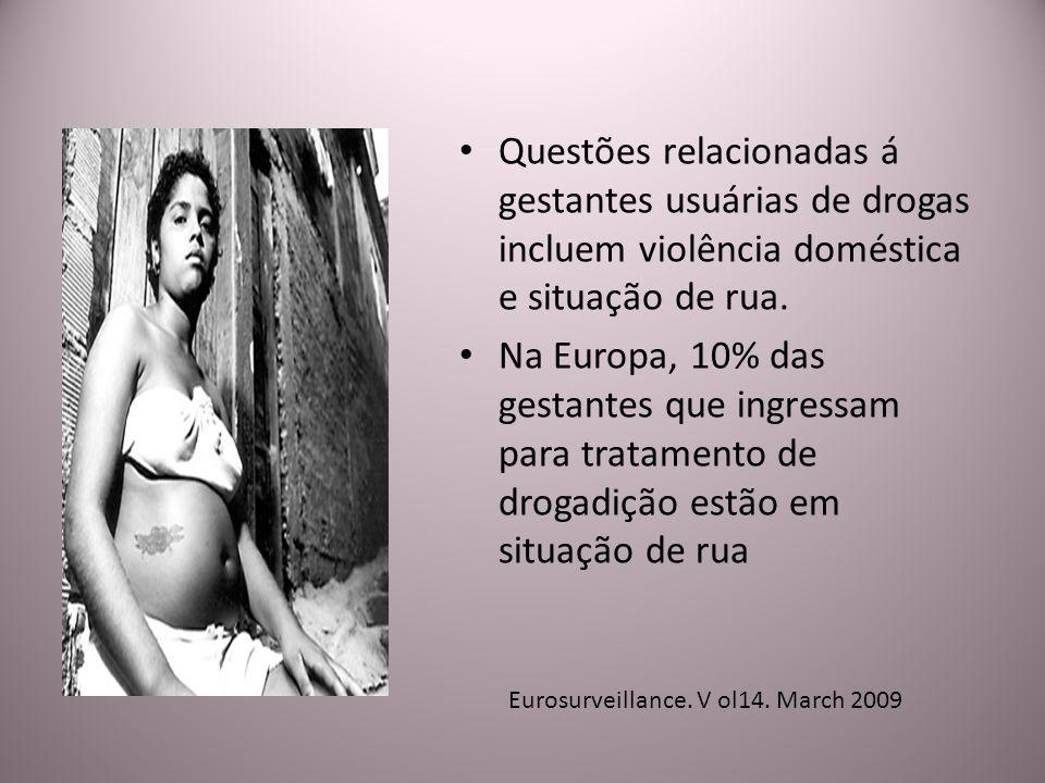 Questões relacionadas á gestantes usuárias de drogas incluem violência doméstica e situação de rua. Na Europa, 10% das gestantes que ingressam para tr
