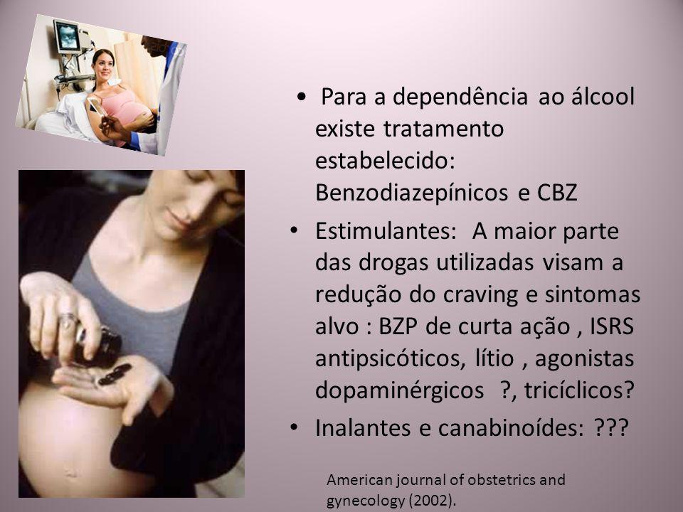 Para a dependência ao álcool existe tratamento estabelecido: Benzodiazepínicos e CBZ Estimulantes: A maior parte das drogas utilizadas visam a redução