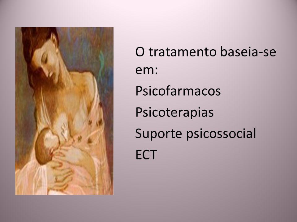 O tratamento baseia-se em: Psicofarmacos Psicoterapias Suporte psicossocial ECT