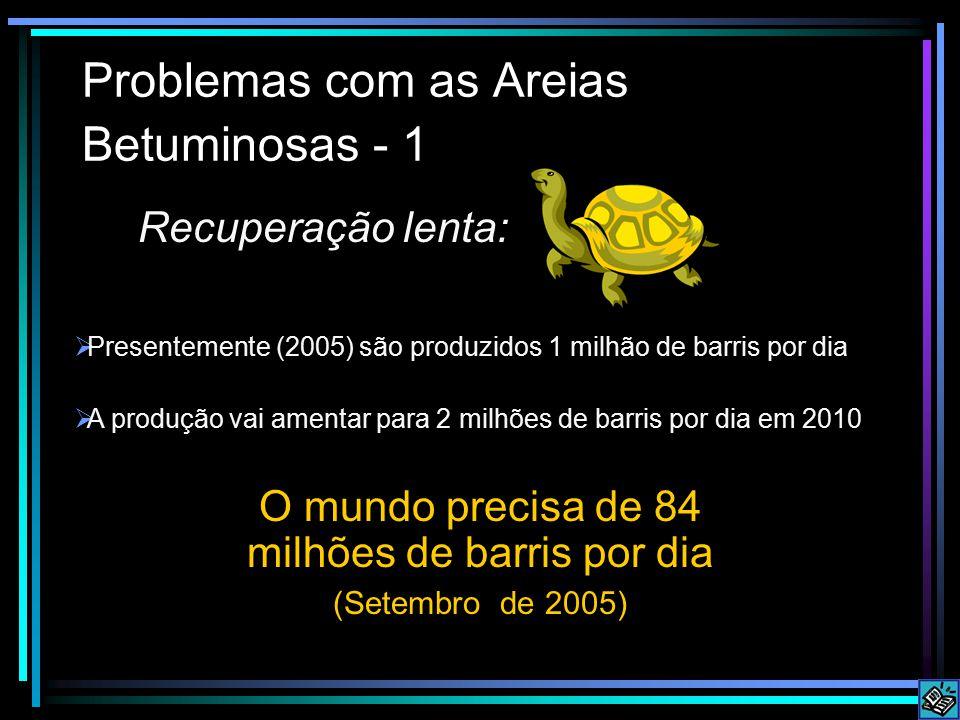 Problemas com as Areias Betuminosas - 1 Recuperação lenta: O mundo precisa de 84 milhões de barris por dia (Setembro de 2005)  A produção vai amentar para 2 milhões de barris por dia em 2010  Presentemente (2005) são produzidos 1 milhão de barris por dia