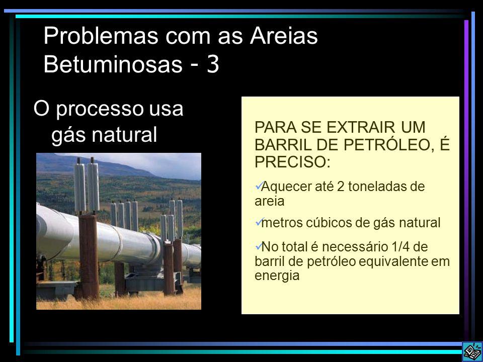 Problemas com as Areias Betuminosas - 3 O processo usa gás natural PARA SE EXTRAIR UM BARRIL DE PETRÓLEO, É PRECISO: Aquecer até 2 toneladas de areia metros cúbicos de gás natural No total é necessário 1/4 de barril de petróleo equivalente em energia
