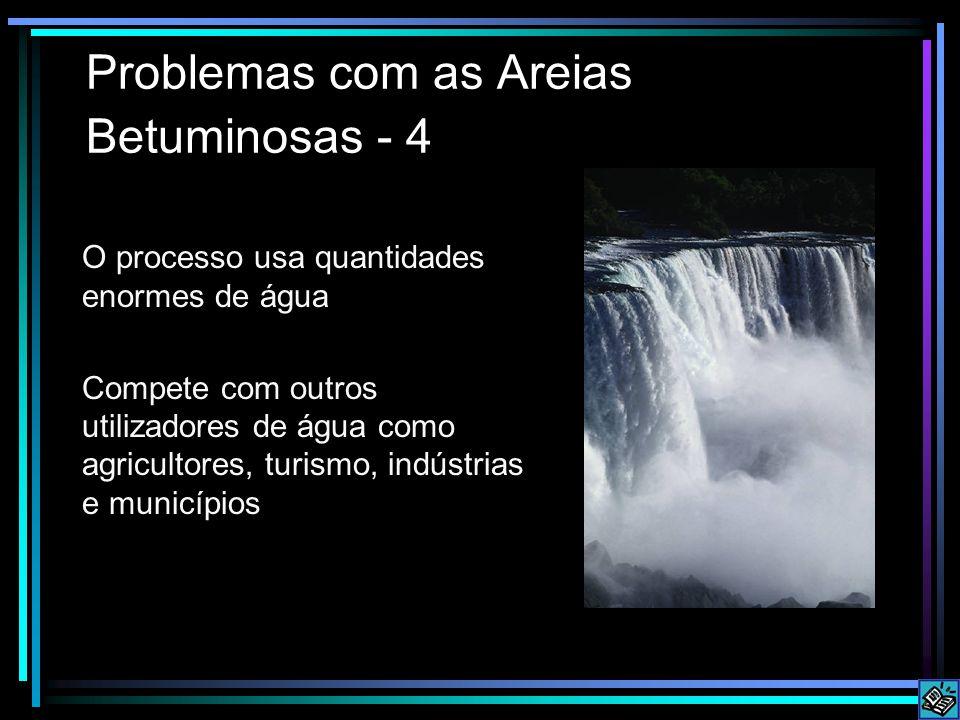 Problemas com as Areias Betuminosas - 4 O processo usa quantidades enormes de água Compete com outros utilizadores de água como agricultores, turismo, indústrias e municípios