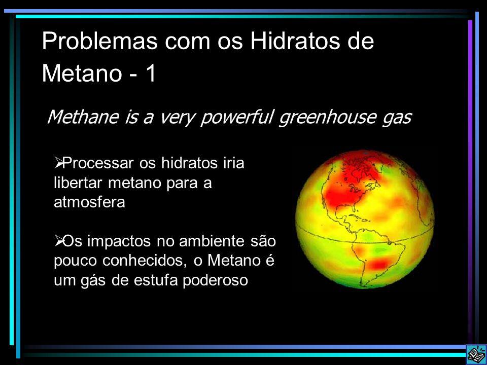Problemas com os Hidratos de Metano - 1  Processar os hidratos iria libertar metano para a atmosfera  Os impactos no ambiente são pouco conhecidos, o Metano é um gás de estufa poderoso Methane is a very powerful greenhouse gas