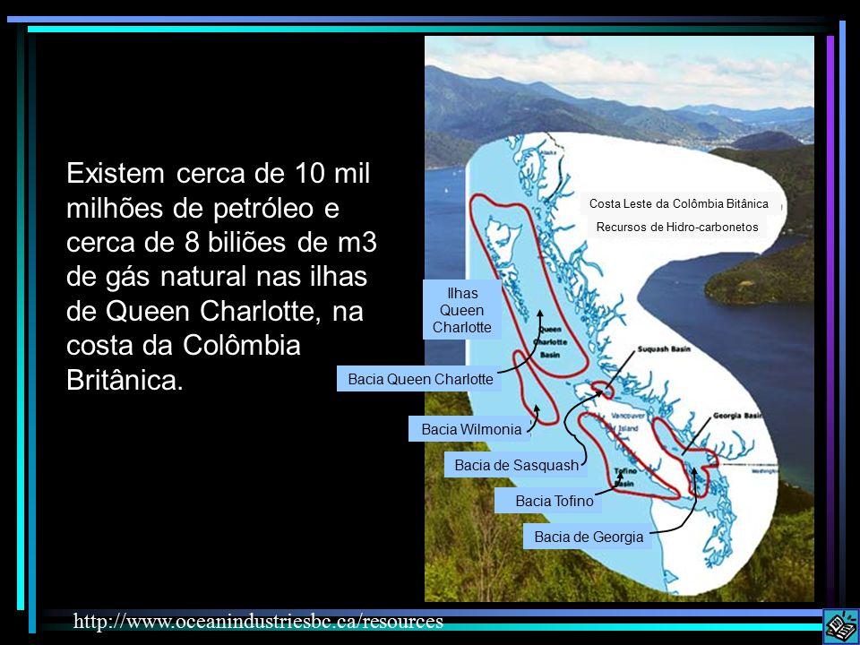 Existem cerca de 10 mil milhões de petróleo e cerca de 8 biliões de m3 de gás natural nas ilhas de Queen Charlotte, na costa da Colômbia Britânica.