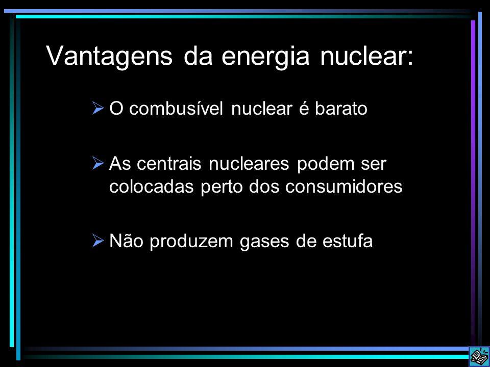 Vantagens da energia nuclear:  O combusível nuclear é barato  As centrais nucleares podem ser colocadas perto dos consumidores  Não produzem gases de estufa