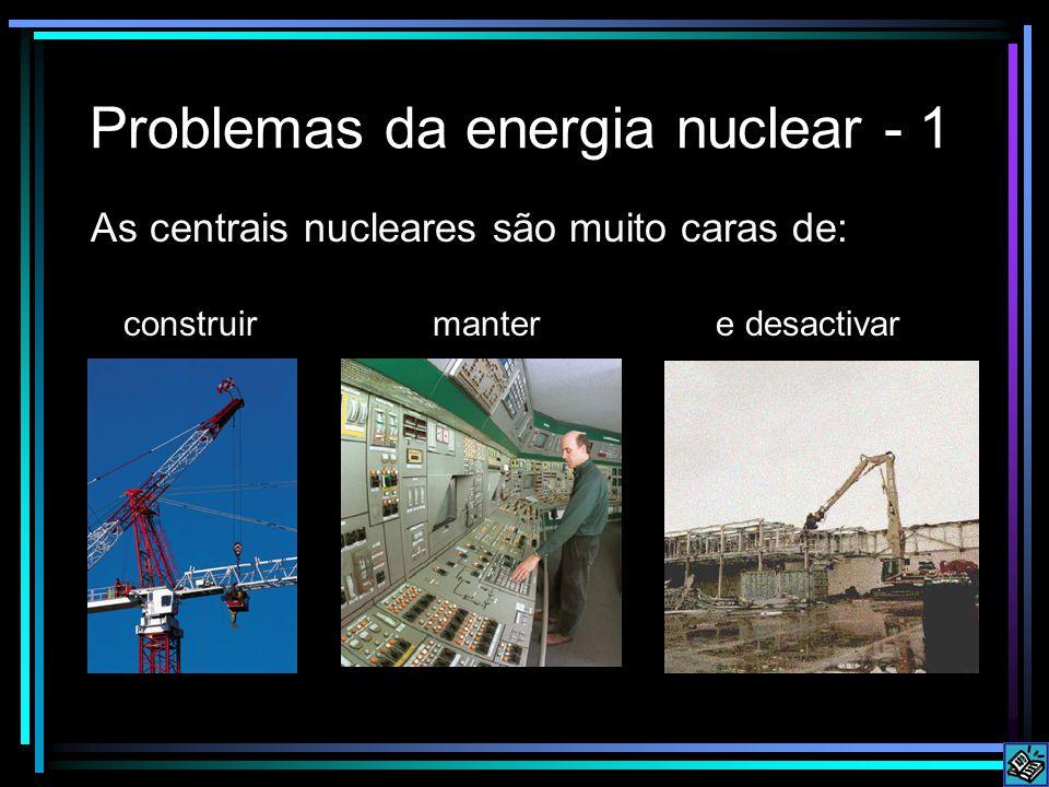 Problemas da energia nuclear - 1 As centrais nucleares são muito caras de: construir manter e desactivar