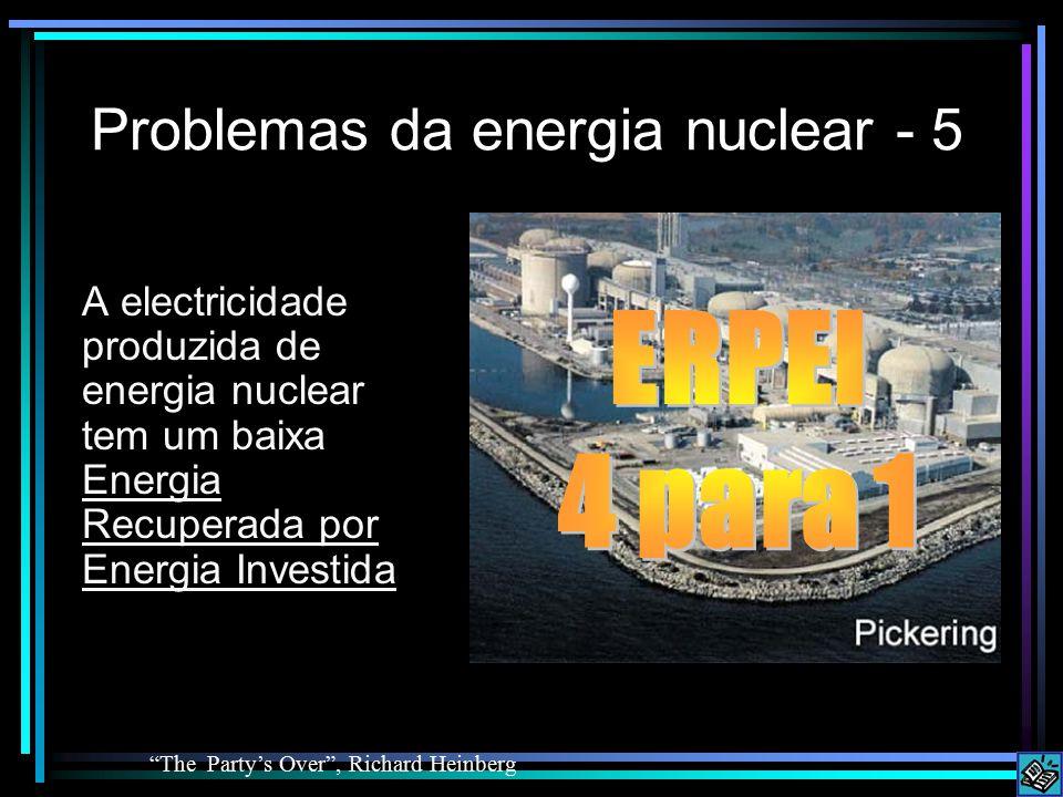 Problemas da energia nuclear - 5 A electricidade produzida de energia nuclear tem um baixa Energia Recuperada por Energia Investida The Party's Over , Richard Heinberg