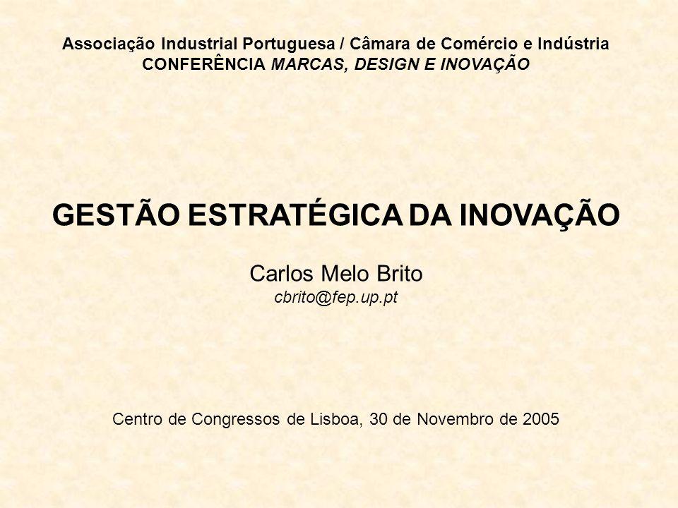 Associação Industrial Portuguesa / Câmara de Comércio e Indústria CONFERÊNCIA MARCAS, DESIGN E INOVAÇÃO GESTÃO ESTRATÉGICA DA INOVAÇÃO Carlos Melo Brito cbrito@fep.up.pt Centro de Congressos de Lisboa, 30 de Novembro de 2005