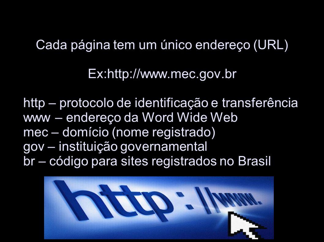Cada página tem um único endereço (URL) Ex:http://www.mec.gov.br http – protocolo de identificação e transferência www – endereço da Word Wide Web mec – domício (nome registrado) gov – instituição governamental br – código para sites registrados no Brasil