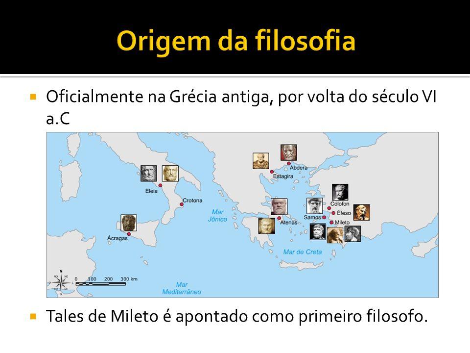  Oficialmente na Grécia antiga, por volta do século VI a.C  Tales de Mileto é apontado como primeiro filosofo.