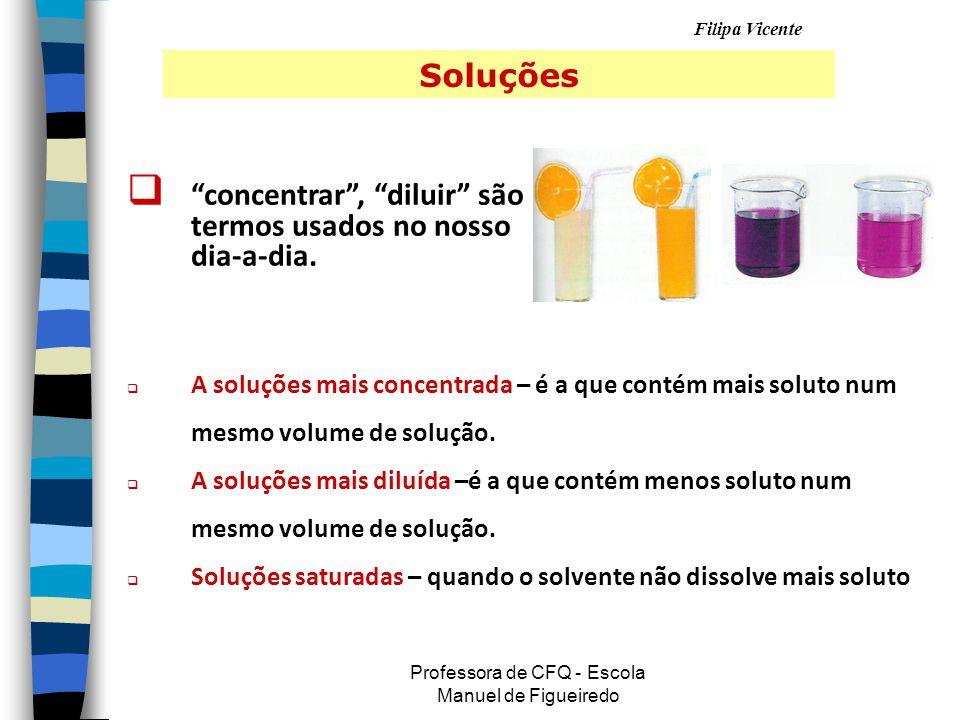 Filipa Vicente Professora de CFQ - Escola Manuel de Figueiredo Soluções   concentrar , diluir são termos usados no nosso dia-a-dia.