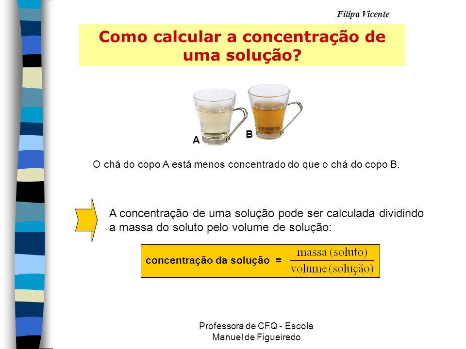 Filipa Vicente Professora de CFQ - Escola Manuel de Figueiredo Como calcular a concentração de uma solução.