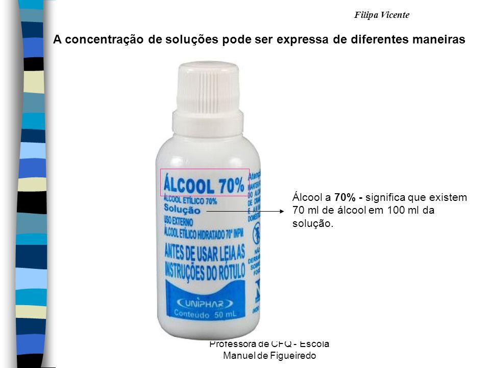 Filipa Vicente Professora de CFQ - Escola Manuel de Figueiredo A concentração de soluções pode ser expressa de diferentes maneiras Álcool a 70% - significa que existem 70 ml de álcool em 100 ml da solução.