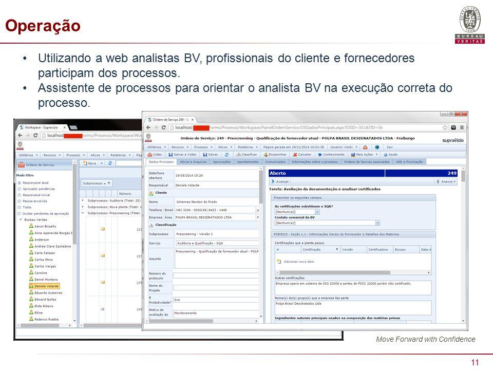 11 Operação Utilizando a web analistas BV, profissionais do cliente e fornecedores participam dos processos.