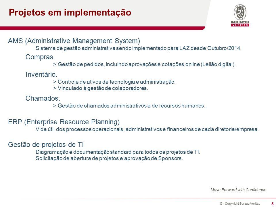 5 © - Copyright Bureau Veritas Projetos em implementação Move Forward with Confidence AMS (Administrative Management System) Sistema de gestão administrativa sendo implementado para LAZ desde Outubro/2014.