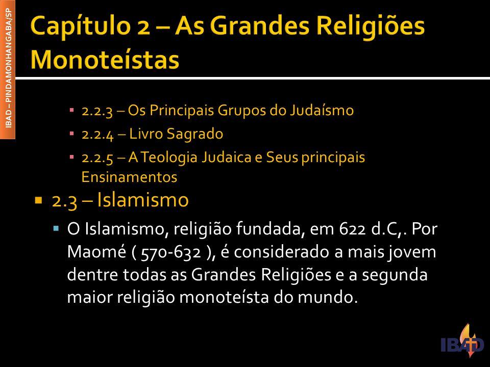 IBAD – PINDAMONHANGABA/SP ▪ 2.2.3 – Os Principais Grupos do Judaísmo ▪ 2.2.4 – Livro Sagrado ▪ 2.2.5 – A Teologia Judaica e Seus principais Ensinament